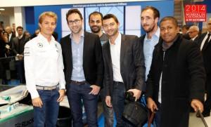 Nico Rosberg, Raphael Dauvergne au centre (AutomotivPress), Osmani Tavares à droite (NoSite TV) - Mercedes - Mondial de l'Automobile de Paris 2014