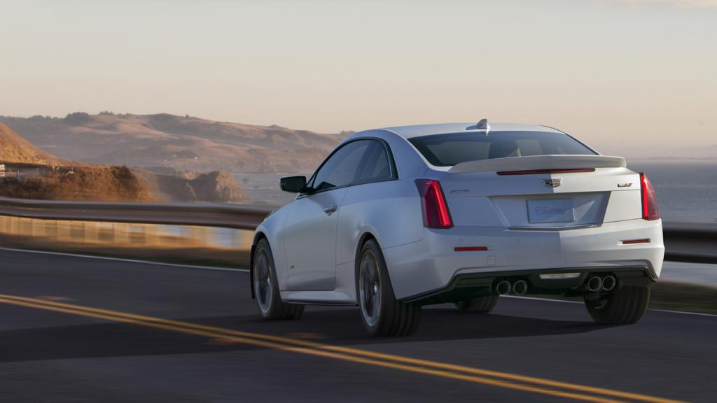 The Cadillac ATS-V Coupe arrives track-capable from the factory next spring, powered by the first-ever twin-turbocharged engine in a V-Series. Rated at an estimated 455 horsepower (339 kW) and 445 lb-ft of torque (603 Nm), the 3.6L V-6 is the segment?s highest-output six-cylinder and enables 0-60 performance of less than 4 seconds and a top speed of more than 185 mph.
