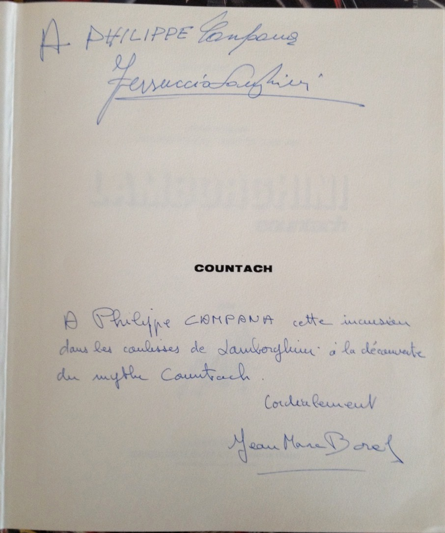 Dédicace Jean-Marc Borel (futur président de Bugatti Automobili) et Ferrucio Lamborghini
