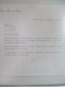 Lettre de recommandation de Juan Manuel Fangio adressée à Enzo Ferrari pour Horacio Pagani