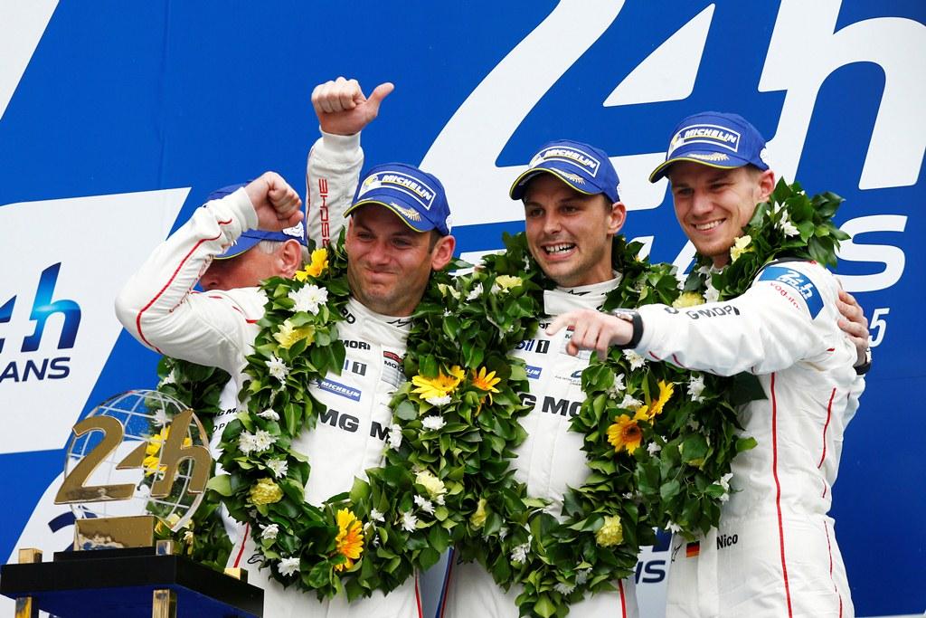 Porsche Team: Nick Tandy, Earl Bamber, Nico Huelkenberg (l-r)