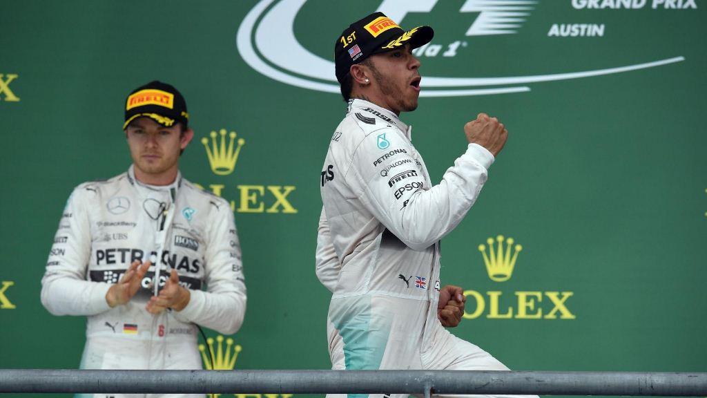 F1 GP USA Austin 2015 podium Hamilton Rosberg