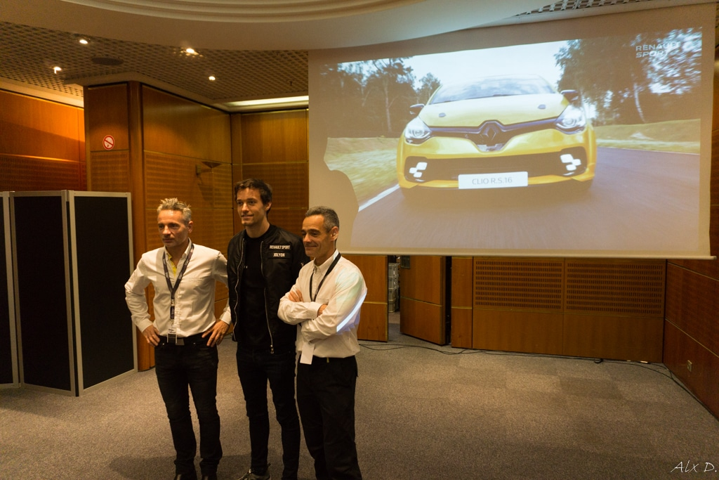 Mondial de l'Automobile Paris 2016 - Rencontre avec Renault Sport - D. Praschl / J. Palmer / L. Hurgon