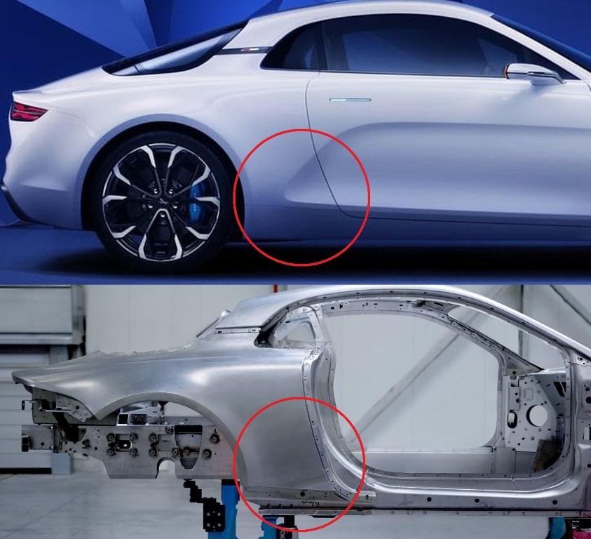 Alpine Concept Vision vs Alpine AS110 - disparition du flanc creusé sur l'aile arrière