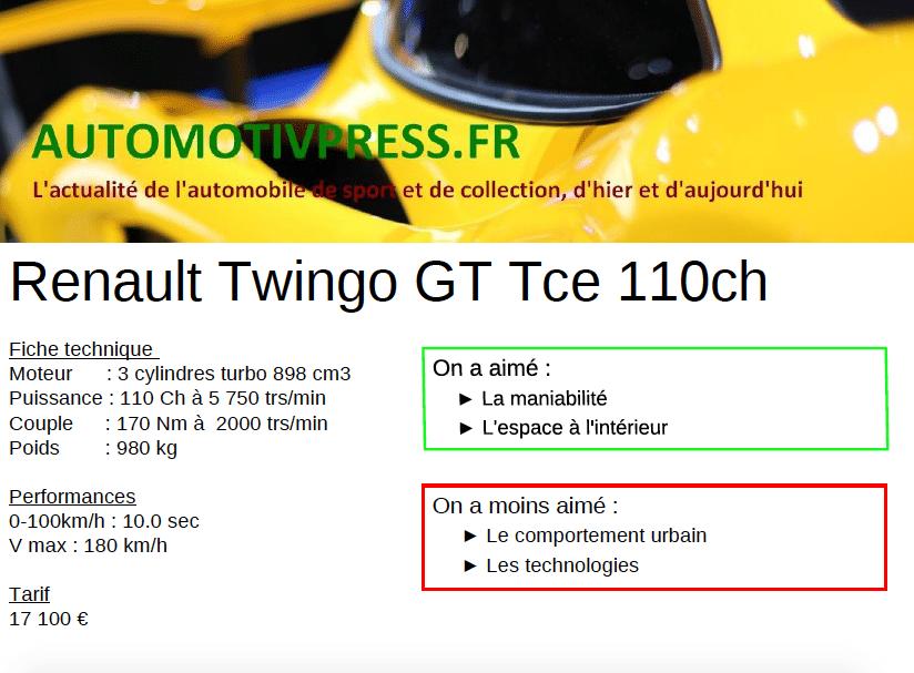Fiche technique Renault Twingo GT