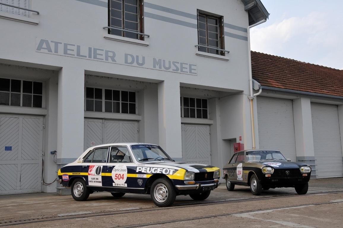 Peugeot berline 504 et coupé 204 Tour Auto 2017 - Musée de l'Aventure Peugeot