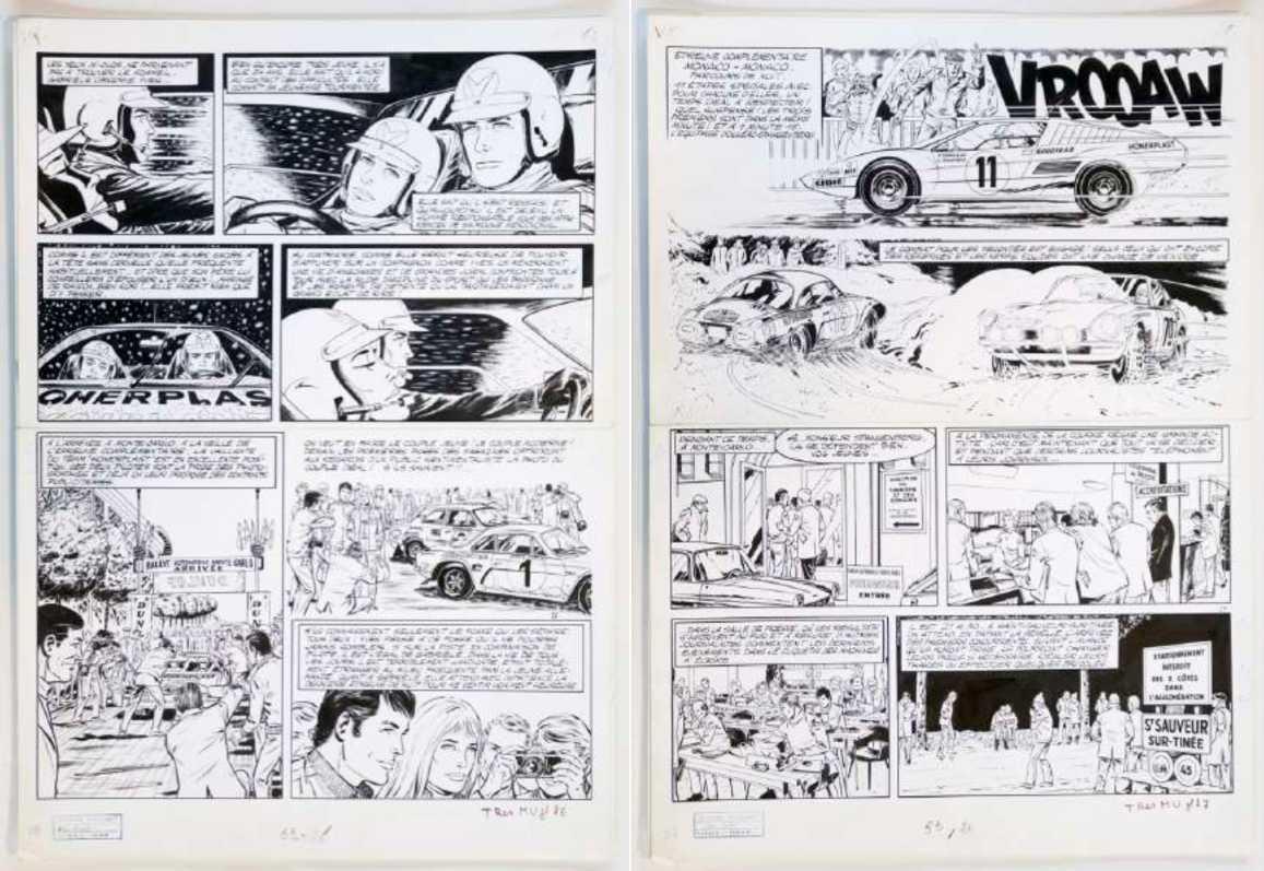 """Michel Vaillant – Planche album """"Des filles et des moteurs"""" (1974)"""