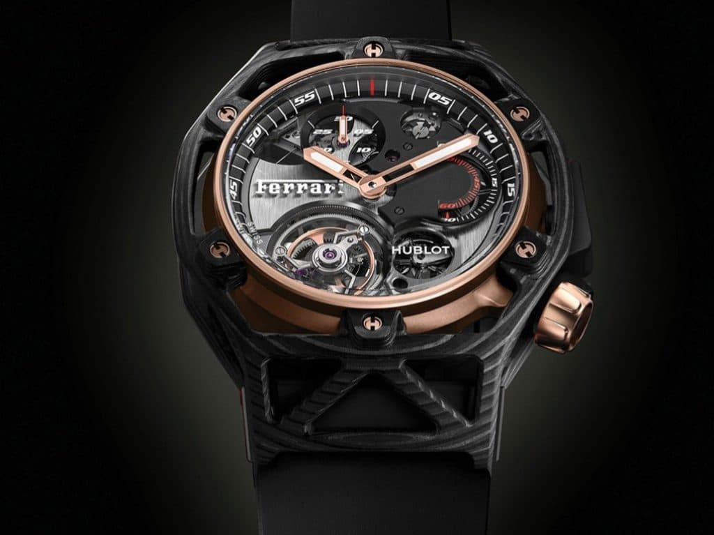Hublot Techframe Ferrari 70 Years Carbone Peek & King Gold Tourbillon Chronograph