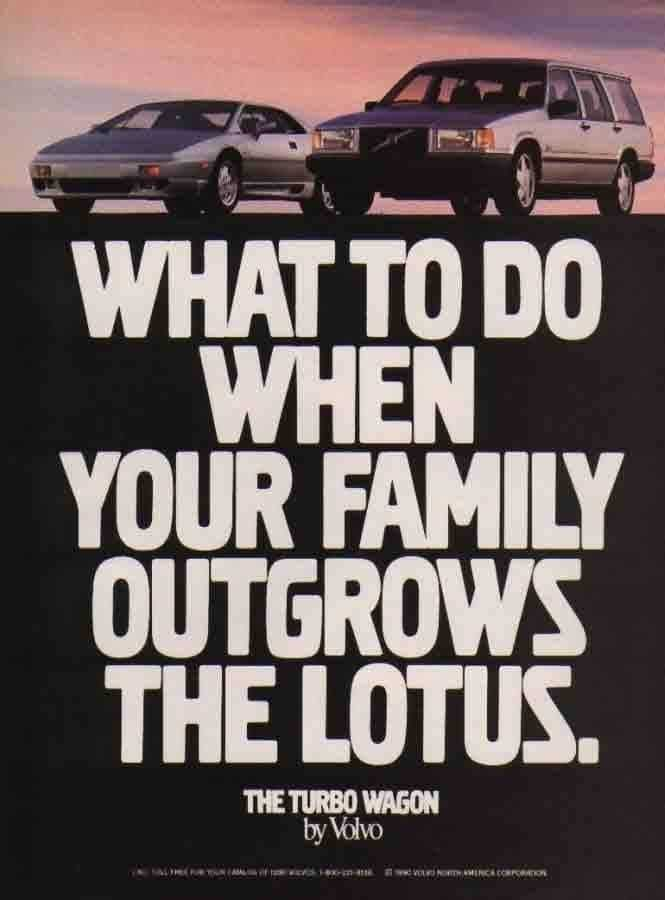 Lotus & Volvo publicité 80's 90's