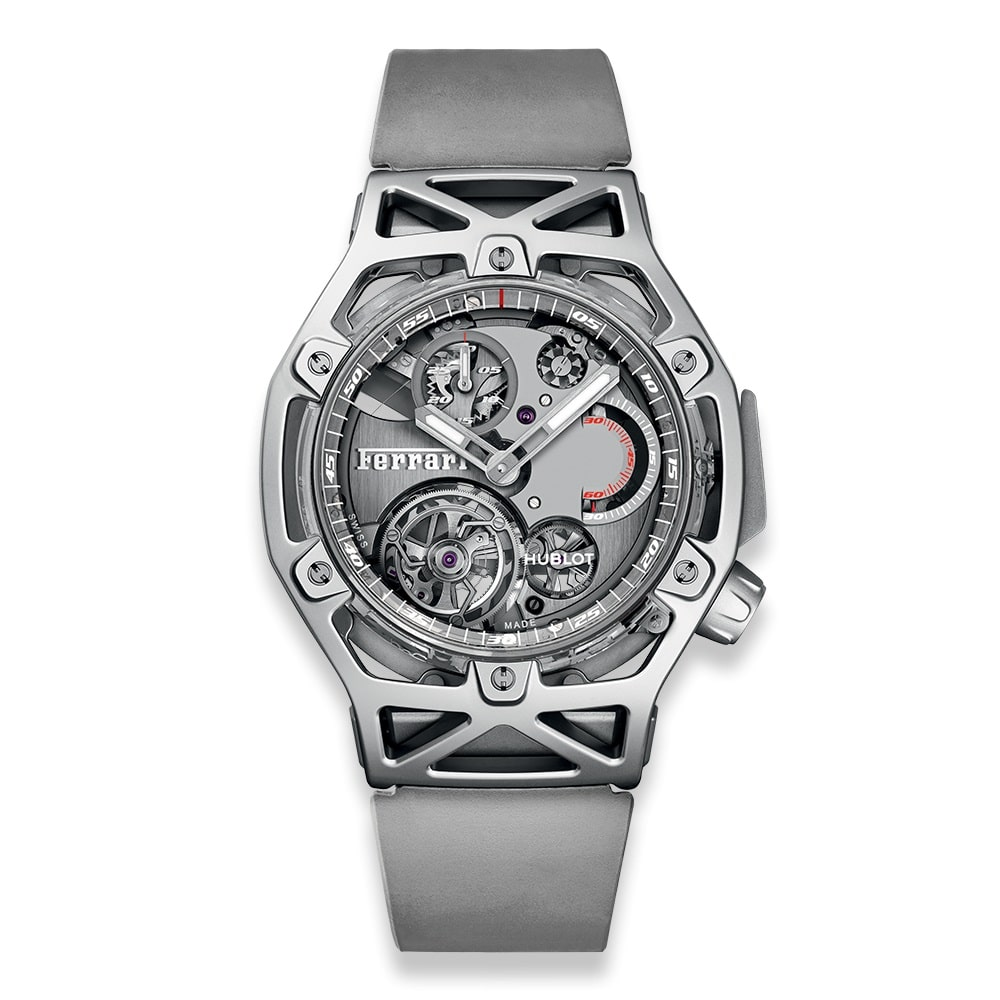 Hublot Techframe Ferrari Tourbillon Chronograph Sapphire White Gold