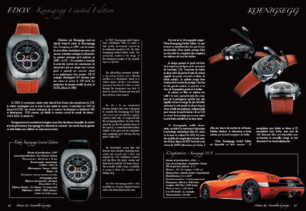 Edox Koenigsegg Limited Edition (2007) – extrait Montres et Automobiles de prestige
