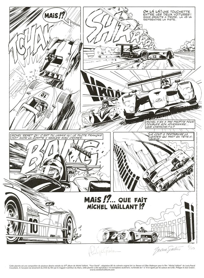 Michel Vaillant lithographie Le Mans 2003 Vaillant vs Leader