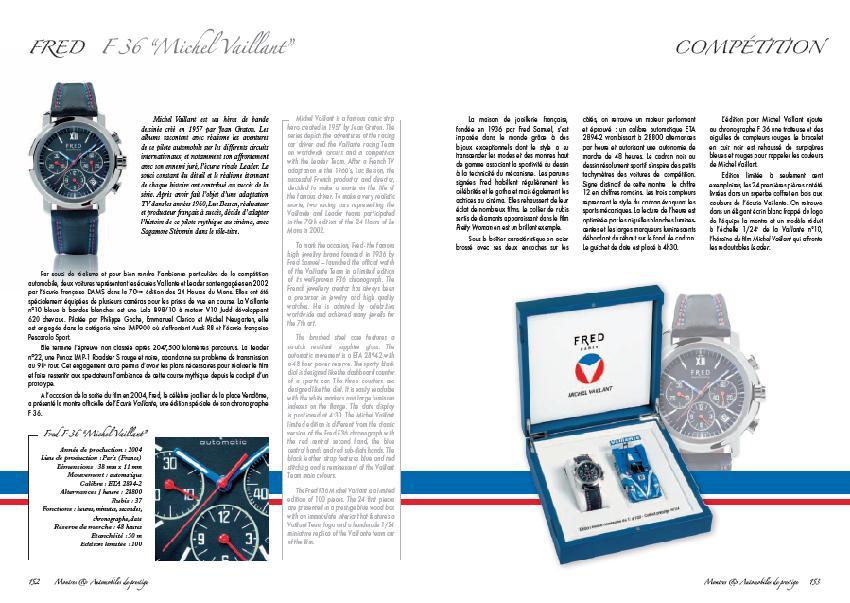 Fred F 36 Michel Vaillant – extrait Montres et Automobiles de prestige