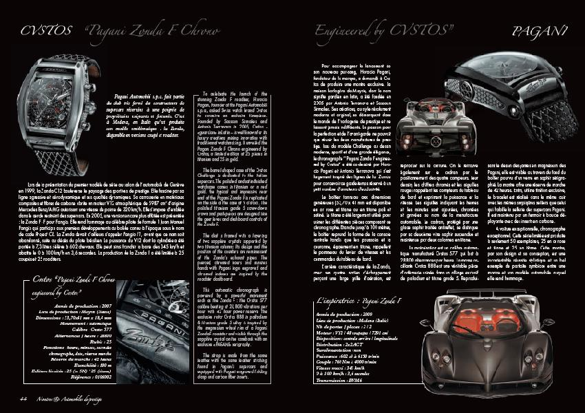 Pagani Zonda F Chrono engineered by Cvstos – extrait Montres et Automobiles de prestige