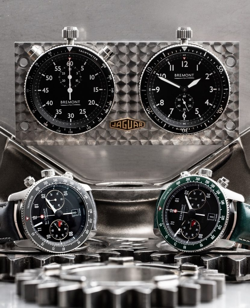 "Bremont ""rally timer"" avec chronographes Jaguar E-Type 60th ""Drop Everything Green"" Set et ""Flat Out Grey"" Set"