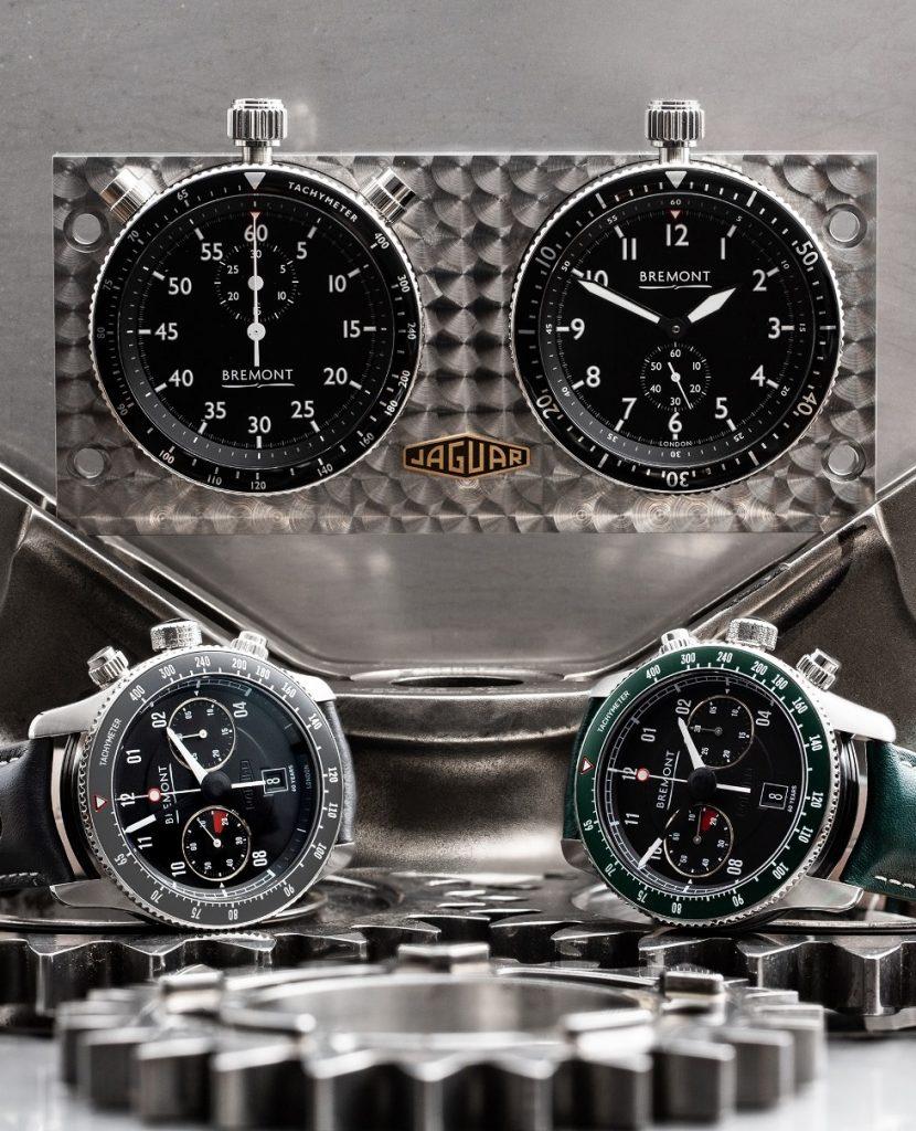 "Bremont ""rally timer"" avec chronographes Jaguar E-Type 60th ""Drop Everything Green"" Set et ""Flat Out Grey"" Set"