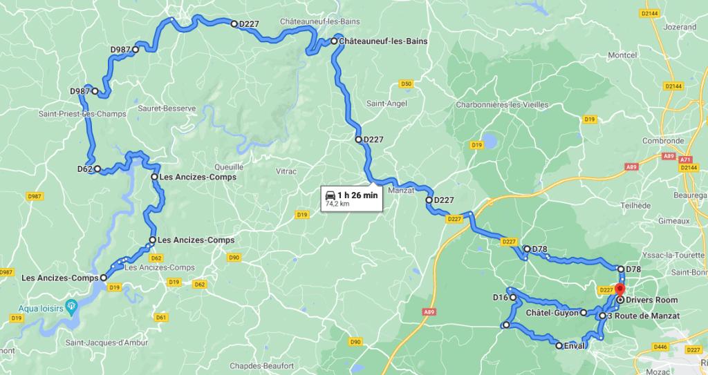 Jour 5 : Plateau du Cantal jusqu'à Besse puis juqu'aux Monts d'Auvergne pour finir autour des méandres de la Sioule et de Queuille jusqu'à Chatel Guyon
